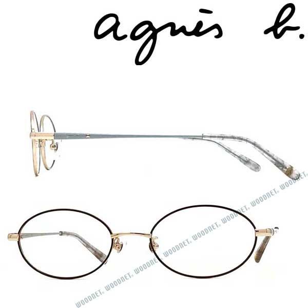 agnes b. メガネフレーム アニエスベー レディース ライトゴールド×チャコール 眼鏡 AB-50-0036-03 ブランド