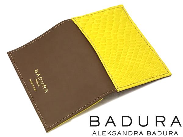 名刺入れ カードケース BADURA バドゥーラ ココア(茶色 ブラウン)×レモンイエロー(黄色) カーフ×パイソン 高級レザー 本革 BA-CC-COCOA-LEMON ブランド 男性用 女性用 イタリア製