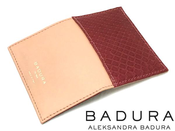 名刺入れ カードケース BADURA バドゥーラ ピーチ(ベージュ)×レッド(赤) カーフ×パイソン 高級レザー 本革 BA-CC-PEACH-RED ブランド 男性用 女性用 イタリア製
