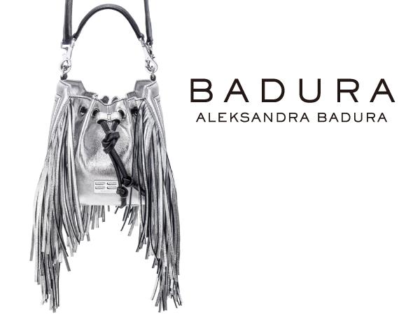 【BADURA】バドゥーラ 高級レザー ラッキーバゲット フリンジミニバッグ シルバー イタリア製 LUCKY-BUCKET-BAG-MINI-SILVER ブランド/レディース/女性用/バック/鞄/本革/新品