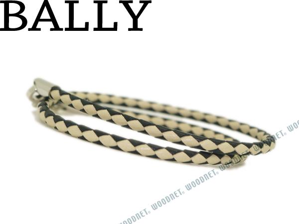 BALLY バリー ブレスレット STABBIO-SAB-104 レザー ブラック×オフホワイト ブランド/メンズ/男性用