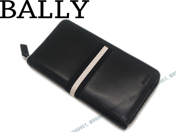 長財布 BALLY バリー ジップアラウンドレザー×キャンバス ブラック×ホワイト 小銭入れあり TALEN-290 ブランド/メンズ/男性用