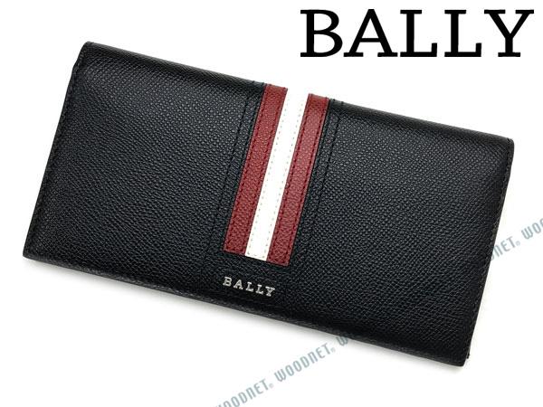 BALLY 長財布 バリー ブラック×レッド×ホワイト メンズ 型押しレザー TALIRO-LT-10 ブランド