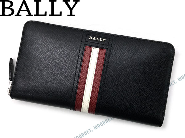 BALLY バリー ジップアラウンド長財布 ブラック×レッド×ホワイト TELEN-LT-10 ブランド/メンズ/男性用