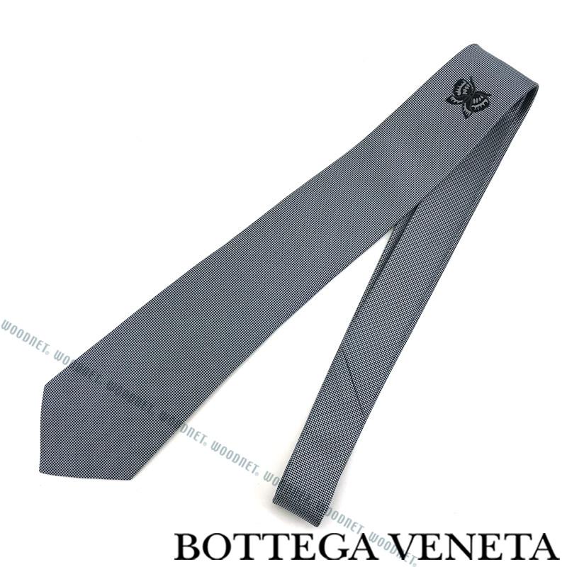 BOTTEGA VENETA ネクタイ ボッテガベネタ メンズ シルク シルバー×ブラック 498185-4V0024860 ブランド