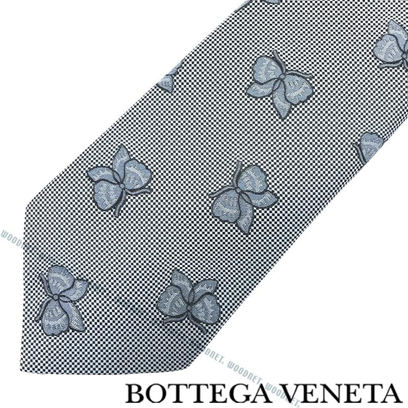 BOTTEGA VENETA ネクタイ ボッテガベネタ メンズ シルク シルバー×ブラック 498186-4V0024869 ブランド