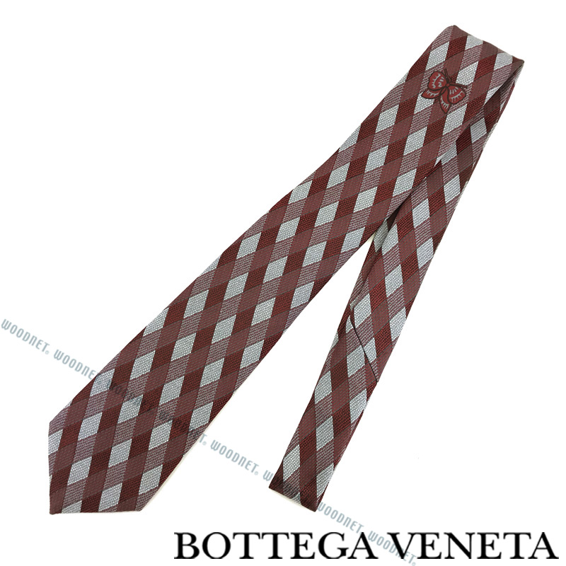 BOTTEGA VENETA ネクタイ ボッテガベネタ メンズ シルク レッド×シルバー 520556-4V0026569 ブランド ビジネス