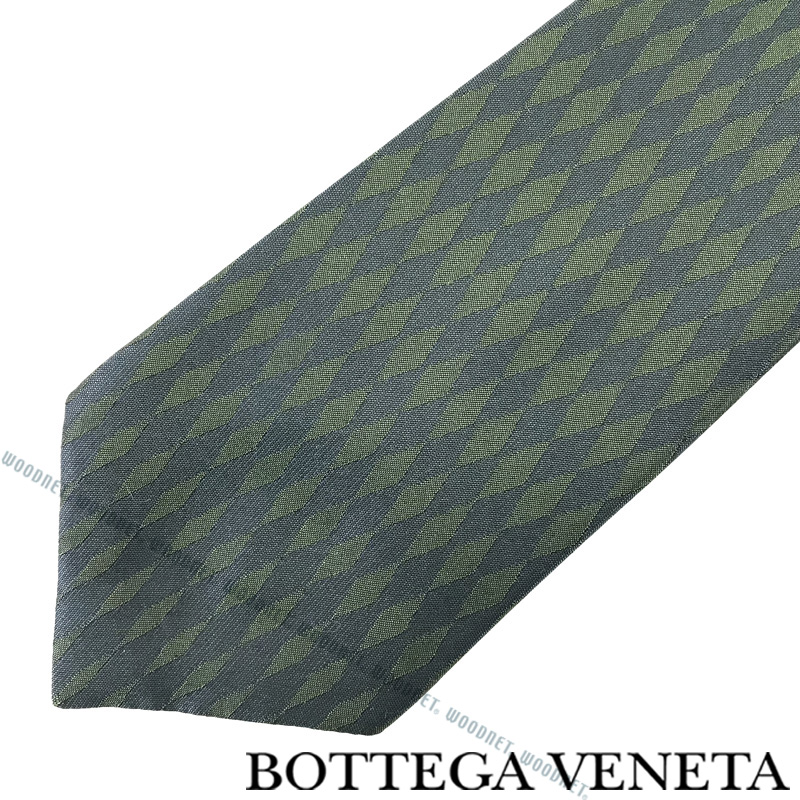 BOTTEGA VENETA ネクタイ ボッテガベネタ メンズ シルク ダークグリーン×ダークシルバー 520579-4V0023066 ブランド