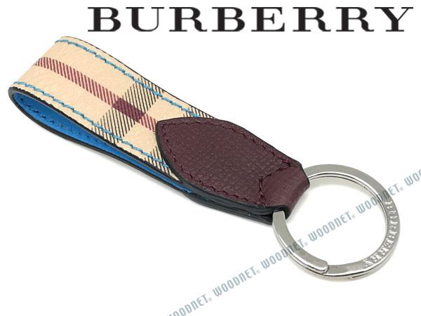 BURBERRY キーホルダー バーバリー メンズ ヘイマーケットチェック&ツートンレザー キーリング ブルー×チェック柄 キーケース 4065213-BLUE ブランド