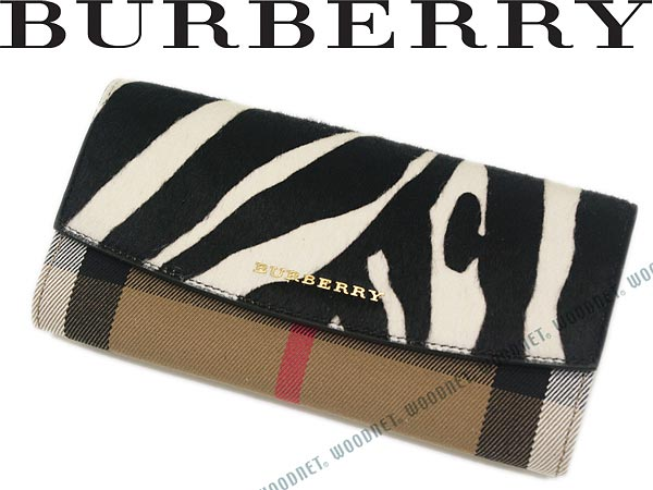 BURBERRY 長財布 バーバリー チェック柄×ゼブラ柄 小銭入れあり 4557681-NATURAL ブランド/レディース/女性用
