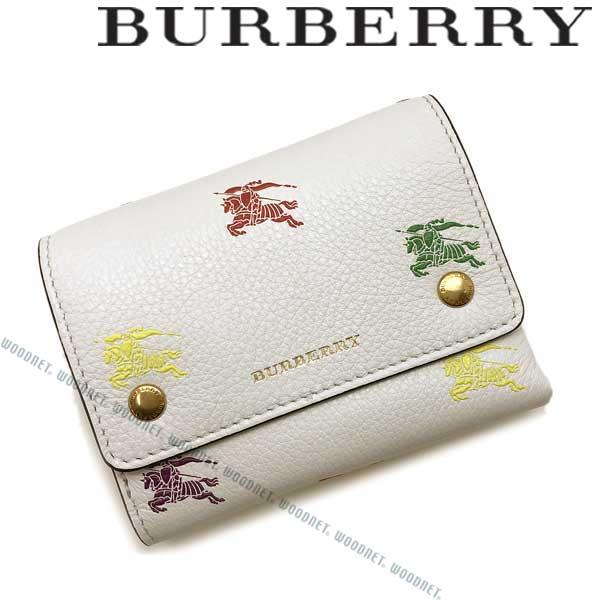BURBERRY 財布 バーバリー レディース レザー コンチネンタル 2つ折り ロゴ柄 レザー ホワイト 8005827-WHITE ブランド