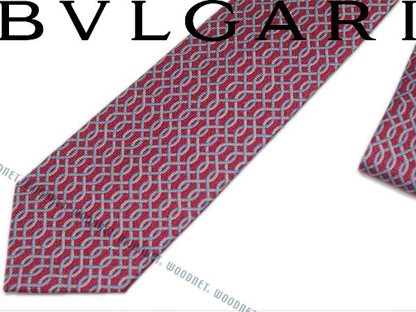 BVLGARI ブルガリ ネクタイ 242177 レッド 「SANKE CHAIN」 シルクブランド ビジネス/メンズ/男性用