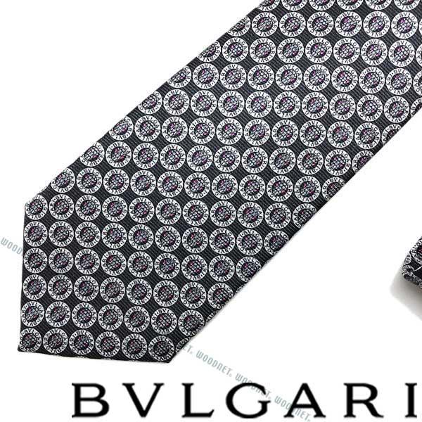 BVLGARI ネクタイ ブルガリ メンズ ブラック 「LOGO BB SNAKE」 シルク 243117 ブランド