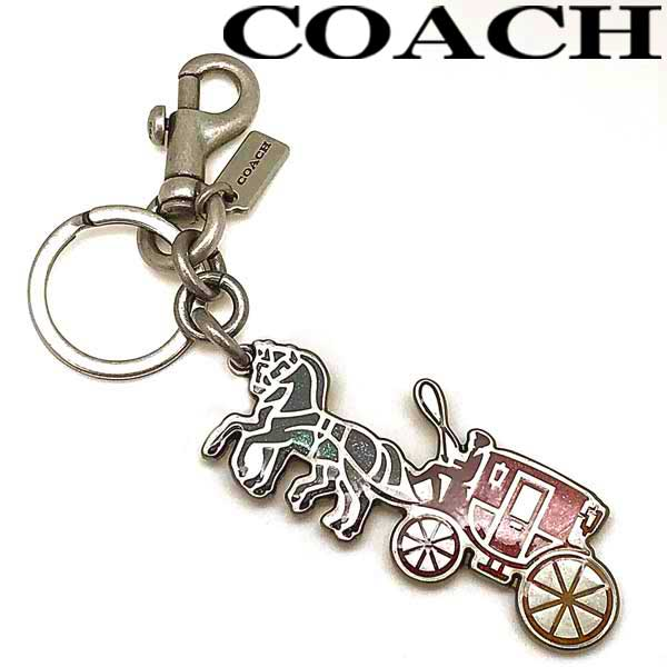 COACH キーホルダー コーチ キーリング キーケース バッグチャーム メンズ&レディース シルバー×グリーン×レッド ホース&キャリッジロゴ 69319-SVMULTI ブランド