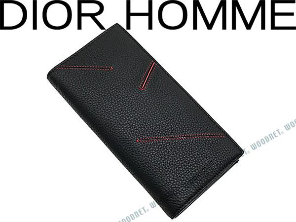 DIOR HOMME ディオールオム 長財布 ロゴ柄 ブラック×レッド 型押しレザー 2つ折り小銭入れあり 2BIBC002-XSCH25Q ブランド/メンズ/男性用