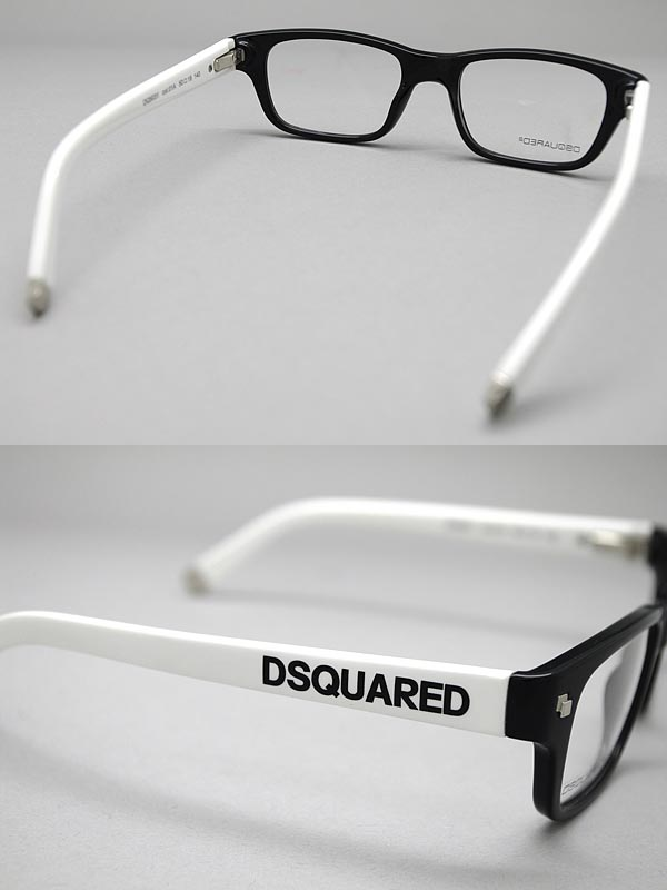 めがね DSQUARED2 ブラック×ホワイト メガネフレーム 眼鏡 ディースクエアード2 0DQ 5031 01A ブランド メンズ レディース 男性用 女性用 度付き・伊達・老眼鏡・カラー・パソコン用PCメガネレンズ交換対応 レンズ交換は6 800円~WECxBeQrdo