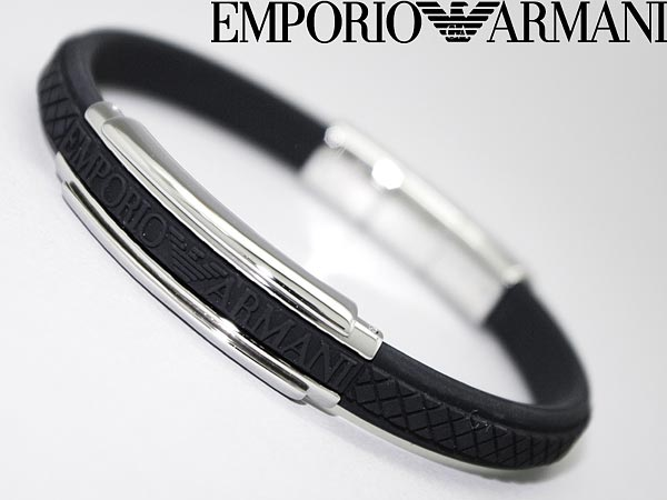 Emporio Armani Bracelet ロゴブラック Rubber Egs1426040 Wn0041 Branded Mens Las Men Women