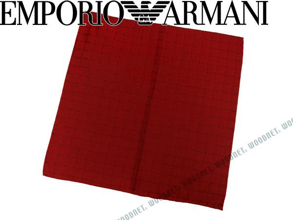 EMPORIO ARMANI ポケットチーフ エンポリオアルマーニ ロゴ柄 シルク レッド 340033-7A615-00074 ブランド/メンズ/男性用