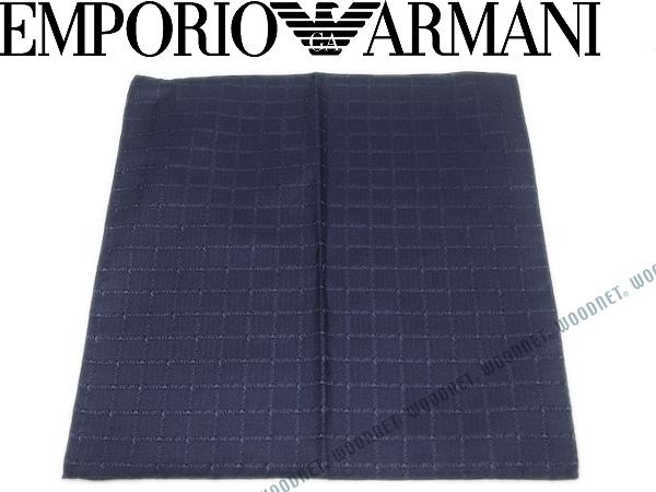 EMPORIO ARMANI ポケットチーフ エンポリオアルマーニ ロゴ柄 シルク ブルー 340033-7P615-00035 ブランド/メンズ/男性用