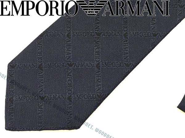 EMPORIO ARMANI ネクタイ エンポリオアルマーニ シルク ロゴ柄 マリンブルー 340049-7A615-00637 ブランド/メンズ/男性用