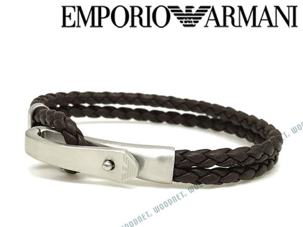 EMPORIO ARMANI ブレスレット エンポリオアルマーニ ブラウン×マットシルバー レザー EGS2476040 ブランド