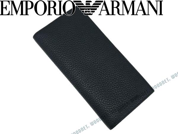 351d57373f7c 2つ折り長財布 EMPORIO ARMANI エンポリオアルマーニ 2つ折り財布 型押しレザー ブラック YEM474