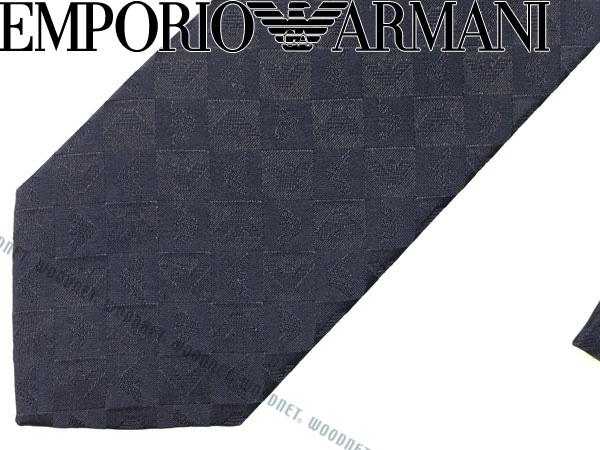 EMPORIO ARMANI ネクタイ エンポリオアルマーニ イーグルロゴ柄 シルク ダークブルー 340049-612-00036 ブランド/メンズ/男性用