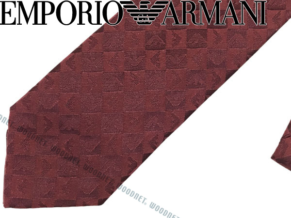 EMPORIO ARMANI ネクタイ エンポリオアルマーニ メンズ シルク イーグルロゴ柄 バーガンディー 340049-612-00176 ブランド