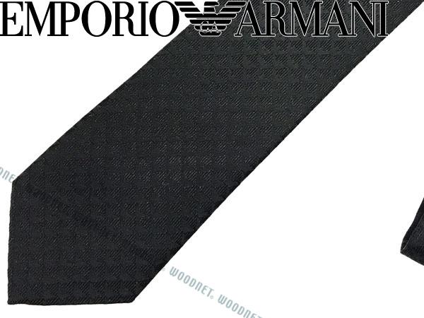 EMPORIO ARMANI ネクタイ エンポリオアルマーニ イーグルロゴ柄 シルク ブラック 340049-613-00020 ブランド ビジネス/メンズ/男性用