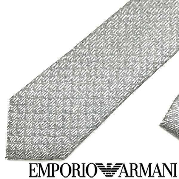 EMPORIO ARMANI ネクタイ エンポリオアルマーニ イーグルロゴ柄 シルク グレー 340049-613-00654 ブランド/メンズ/男性用