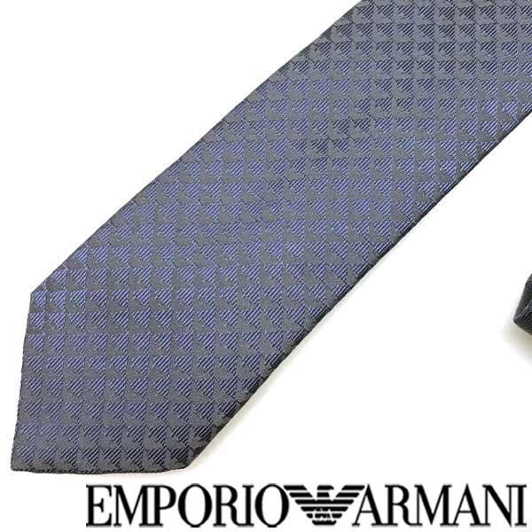 EMPORIO ARMANI ネクタイ エンポリオアルマーニ イーグルロゴ柄 シルク サファイア 340049-613-13833 ブランド/メンズ/男性用
