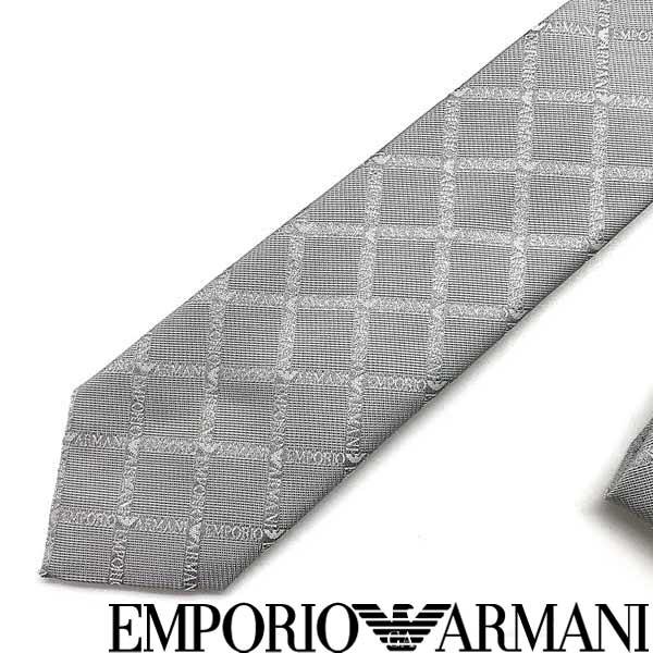 EMPORIO ARMANI ネクタイ エンポリオアルマーニ メンズ ロゴ柄 シルク パールグレー 340049-615-00040 ブランド ビジネス