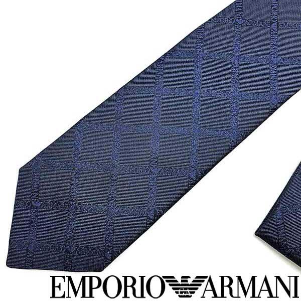 EMPORIO ARMANI ネクタイ エンポリオアルマーニ メンズ ロゴ柄 シルク インディゴブルー 340049-615-00133 ブランド ビジネス