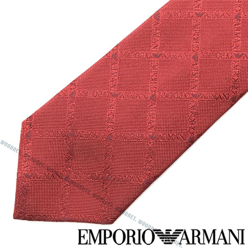 EMPORIO ARMANI ネクタイ エンポリオアルマーニ メンズ ロゴ柄シルクレッド 340049-615-05573 ブランド