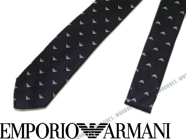 EMPORIO ARMANI ネクタイ エンポリオアルマーニ メンズ シルク イーグルロゴ柄 ダークブルー 340049-616-00036 ブランド
