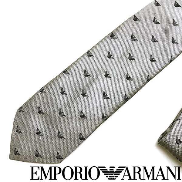 EMPORIO ARMANI ネクタイ エンポリオアルマーニ メンズ イーグルロゴ柄 シルク パールグレー 340049-616-00040 ブランド ビジネス