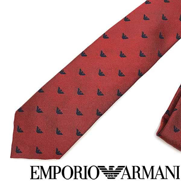EMPORIO ARMANI ネクタイ エンポリオアルマーニ メンズ イーグルロゴ柄 シルク レッド 340049-616-00274 ブランド ビジネス