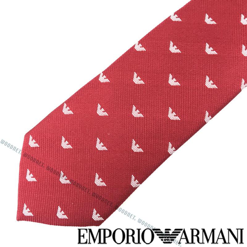 EMPORIO ARMANI ネクタイ エンポリオアルマーニ メンズ イーグルロゴ柄 シルク レッド 340049-616-05573 ブランド