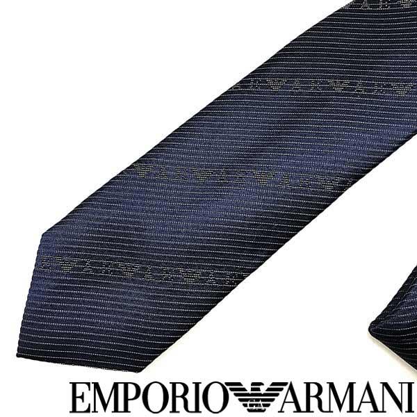 EMPORIO ARMANI ネクタイ エンポリオアルマーニ メンズ ロゴ柄 シルク ナイトブルー 340049-618-00036 ブランド ビジネス