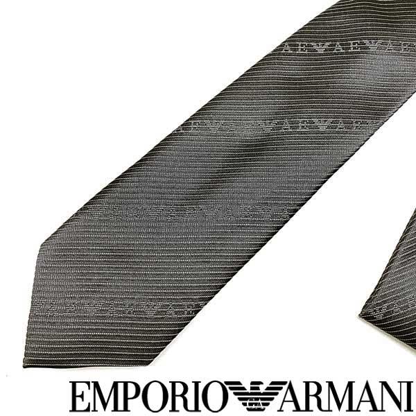 EMPORIO ARMANI ネクタイ エンポリオアルマーニ メンズ ロゴ柄 シルク グレー 340049-618-00041 ブランド ビジネス