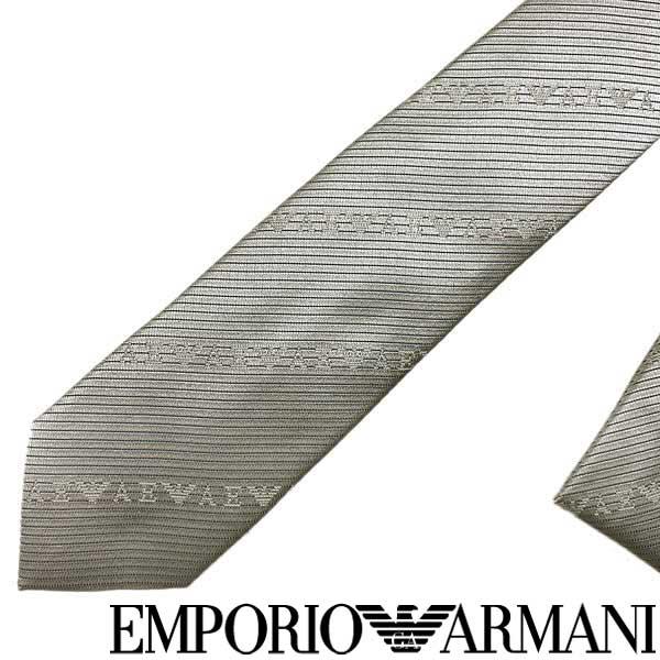 EMPORIO ARMANI ネクタイ エンポリオアルマーニ メンズ ロゴ柄 シルク パールグレー 340049-618-00240 ブランド ビジネス