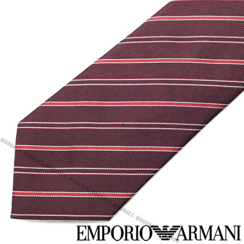 EMPORIO ARMANI ネクタイ エンポリオアルマーニ メンズ ストライプ柄 シルク バーガンディー 340075-307-00176 ブランド ビジネス