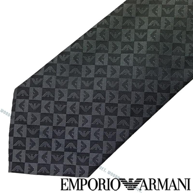 EMPORIO ARMANI ネクタイ エンポリオアルマーニ メンズ イーグルロゴ柄 シルク チャコール×ブラック 340075-612-04543 ブランド