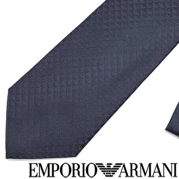 EMPORIO ARMANI ネクタイ エンポリオアルマーニ イーグルロゴ柄 シルク ナイトブルー 340075-613-00036 ブランド/メンズ/男性用