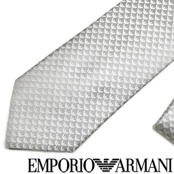 EMPORIO ARMANI ネクタイ エンポリオアルマーニ イーグルロゴ柄 シルク パールグレー 340075-613-00240 ブランド/メンズ/男性用