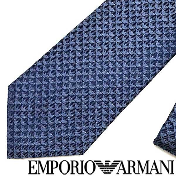 EMPORIO ARMANI ネクタイ エンポリオアルマーニ イーグルロゴ柄 シルク スチィールブルー 340075-613-01339 ブランド/メンズ/男性用