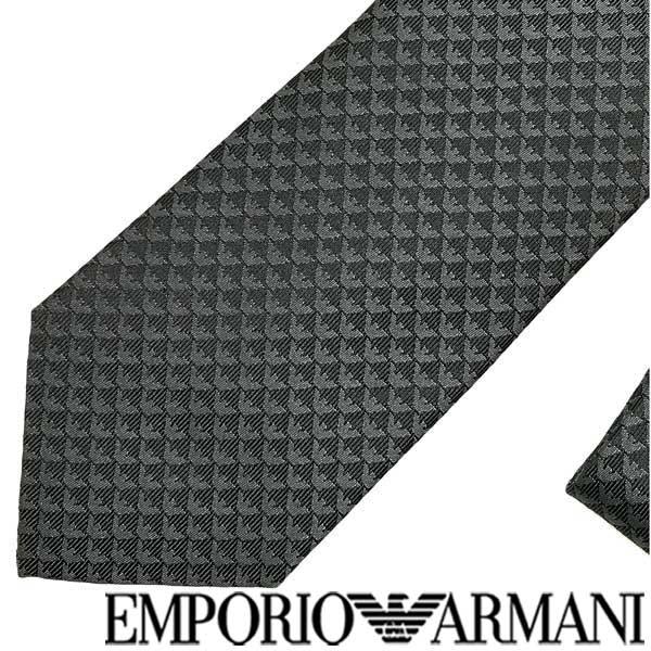 EMPORIO ARMANI ネクタイ エンポリオアルマーニ イーグルロゴ柄 シルク スレートグレー 340075-613-10820 ブランド/メンズ/男性用