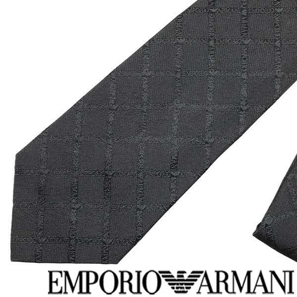 EMPORIO ARMANI ネクタイ エンポリオアルマーニ ロゴ柄 シルクブラック 340075-615-00020 ブランド/メンズ/男性用