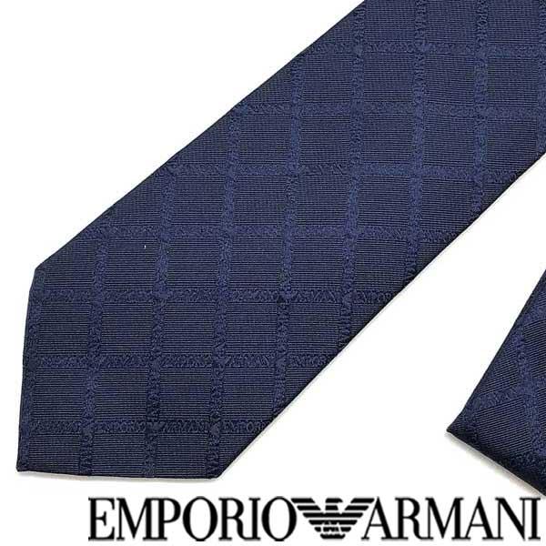 EMPORIO ARMANI ネクタイ エンポリオアルマーニ ロゴ柄 シルクインディゴブルー 340075-615-00133 ブランド/メンズ/男性用