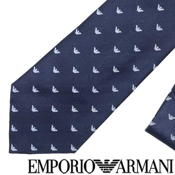 EMPORIO ARMANI ネクタイ エンポリオアルマーニ イーグルロゴ柄 シルク マリンブルー 340075-616-00637 ブランド/メンズ/男性用